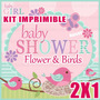 Kit Imprimible Baby Shower Flowers & Birds 2x1