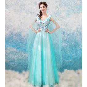 Vestido De Noiva Azul Tiffany 34 36 38 40 42 44 46 - Va00186