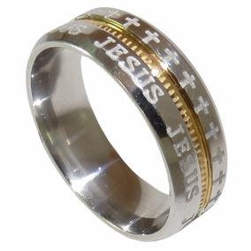 Aliança Anel De Aço Jesus Filete Banhado Ouro Dourado