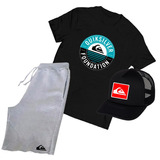 Kit Quiksilver Camiseta Boné Bermuda Skate - Promoção