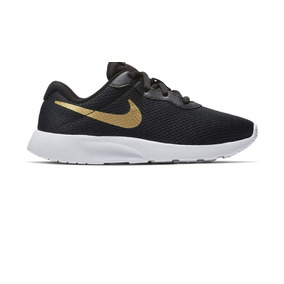 fc292e13fd287 Tenis Niñas Nike 818382 016 Tanjun Negro dorado