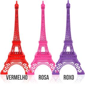 Torre Eiffel Paris Decorativa Metal 25 Cm Colorida 6 Cores