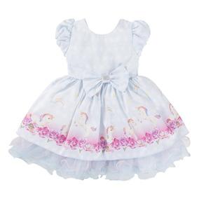 Vestido Temático Infantil Unicórnio Rodado