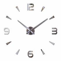 Relógio De Parede Espelhado 3d Grande Sala Decoração 1mx1m.