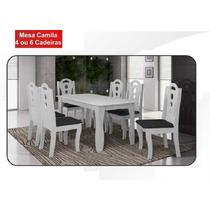 Mesa Seis Cadeiras Brancas Com Estofados