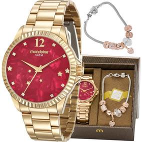 Kit Relógio Mondaine Feminino Com Pulseira 99128lpmkde9k2
