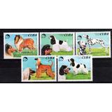 5 Estampillas De Cuba Tema Perros Año 1994