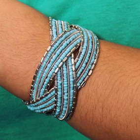 Pulseira Globo Azul Claro Indiana Micanga Bracelet Artesanal