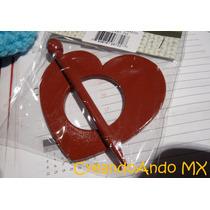 Broche De Madera Para Chales Y Tejidos Mod Corazón Terracota