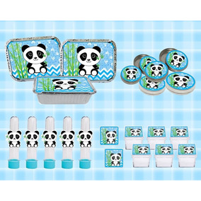 Kit Festa Infantil Panda Menino Azul 40 Peças