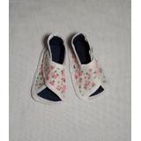 Zapatos Sandalias Bebé Beba Tela Floreada Con Abrojo Verano