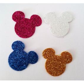 30 Aplique Recorte Mickey Minnie Cabeça Eva Glitter