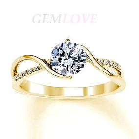 Anillo Compromiso Oro Sólido 14k Y Diamante Cultivado 0.35ct