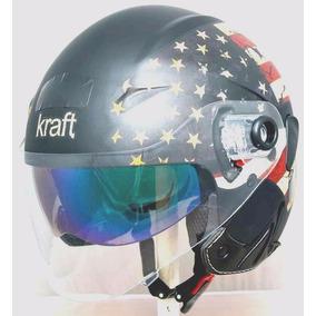 Capacete Kraft Jet Usa - Viseira Interna - Frete Gratis