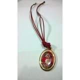 Collar Cuero Rojo Con Imagen Religiosa Virgen Coromoto