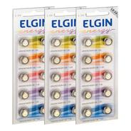 30 Pilhas Baterias Lr1130 Lr54 Ag10 Alcalina Elgin 03 Cart
