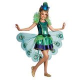 Disfraz De Pavo Real Para Niña Talla L - Verde