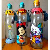 Botellas Para Agua Pintadas A Mano Con Tapo