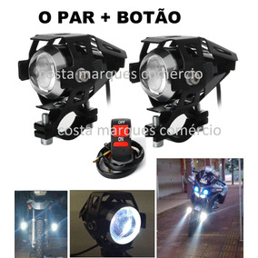 Par Farol Milha Moto Auxiliar Neblina Led U5 - M7+ Botão