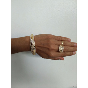 Conjunto Bracelete E Anel (bijuteria Fina) N.44