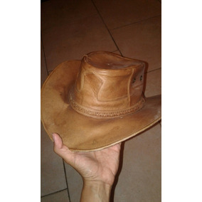 Espectacular Y Genuino Sombrero 100% Cuero Color Marrón 6ed25b7df90
