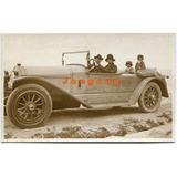 Antigua Foto Postal Mujer Y Hombre Con Niños En Automovil