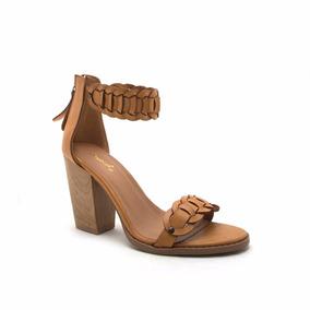 Zapato Sandalia Mujer Qupid Trenzado Pulsera Camello Dama
