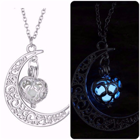 Collar Media Luna Corazón Brilla Y Cadena Plata Envio Gratis
