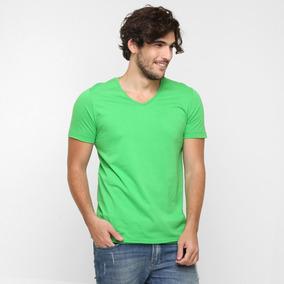 58b0f972ea Camiseta Branca Lisa Gola V - Camisetas Manga Curta no Mercado Livre ...