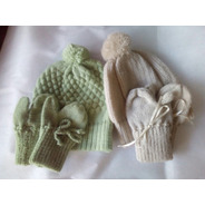 Conjuntos De Tricô Para Bebês Recém Nascido Verde E Bege