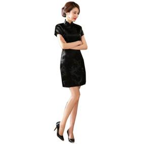 Vestido Chino Estilo Cheongsam / Qipao Corto Negro