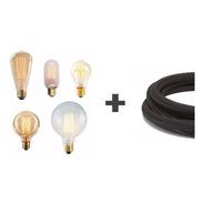 10 Lamparas Filamento Carbono + 10 Metros De Cable Textil Enviogratis