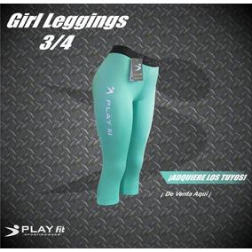 Leggings Mallon Licra 3/4 Mujer Verde Aqua Play Fit