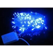 Pisca 100 Lâmpadas Led Fixo Azul C/ Fio Transp 220v