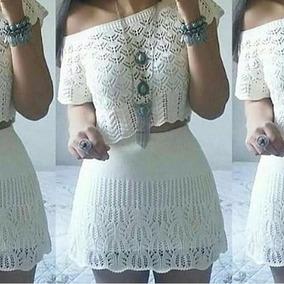 Conjunto Curto Saia E Blusa Material Trico Croche