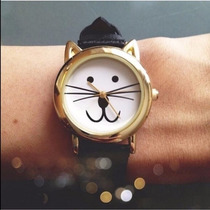 Reloj En Forma De Gato Kitty Dorado Color Negro