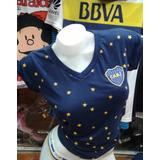 Remera Manga Corta Boca Juniors Estrellas Dama Talle S A Xxl