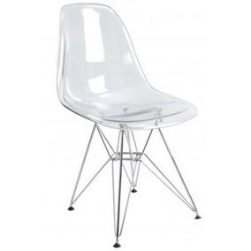 Cadeira Em Acrílico Base Aço Cromado Umix 231 Transparente