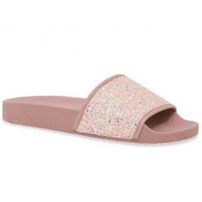 Chinelo Moleca Slide Glitter Rosa Feminino Original