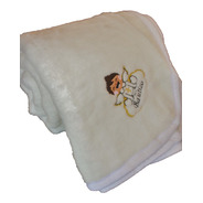 Cobertor Bautizo Bordado 1.40x1.10 Color Blanco Suavecito