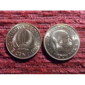 Ndv - Lote 2 Monedas Diferentes De Sierra Leona 1964 S/c