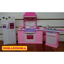Cozinha De Luxo Para Boneca Barbie * Geladeira Fogão Pia