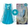 Fantasia Frozen Elsa Vestido Infantil Princesa + Acessórios