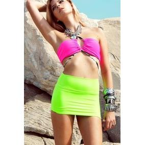 Mini Falda Pareo Lycra Fluorescente Salida Playa