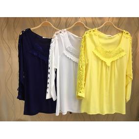 Blusa Camiseta Feminina Em Viscose Com Renda #373