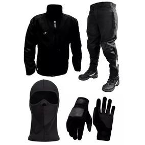 Kit Termico Moto Softshell Campera Pantalon Guantes Mascara
