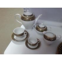 Jogo Aparelho Chá/café Porcelana 53 Peças Preto Com Dourado
