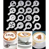 16 Moldes Stencil Barista Decorar Café Bolo Doce Capuccino