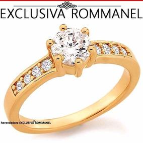 Anel Solitário Zircônias Rommanel Folheado Ouro 18k 511652