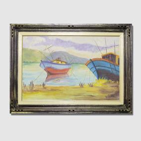 Quadro Barcos Pintura Óleo Sobre Tela + Moldura Madeira Pm